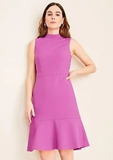 Ann Taylor Doubleweave Mock Neck Flounce Dress