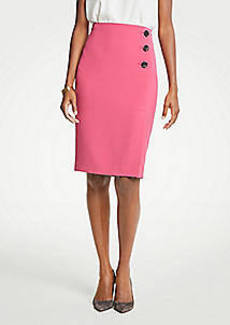 Ann Taylor Doubleweave Side Button Pencil Skirt