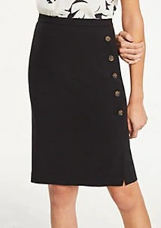 Ann Taylor Doubleweave Side Button Trim Pencil Skirt
