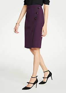 Ann Taylor Doubleweave Side Button Wrap Pencil Skirt