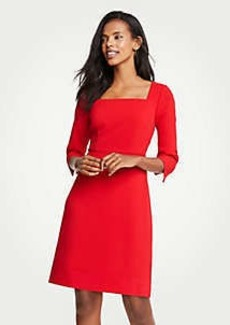 Ann Taylor Doubleweave Square Neck Flare Dress