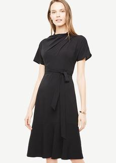 Drape Neck Flare Dress