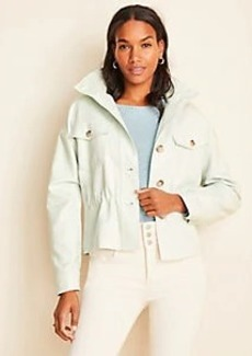 Ann Taylor Drawstring Stand Collar Jacket