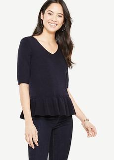 Ann Taylor Elbow Sleeve Peplum Sweater