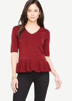 Elbow Sleeve Peplum Sweater