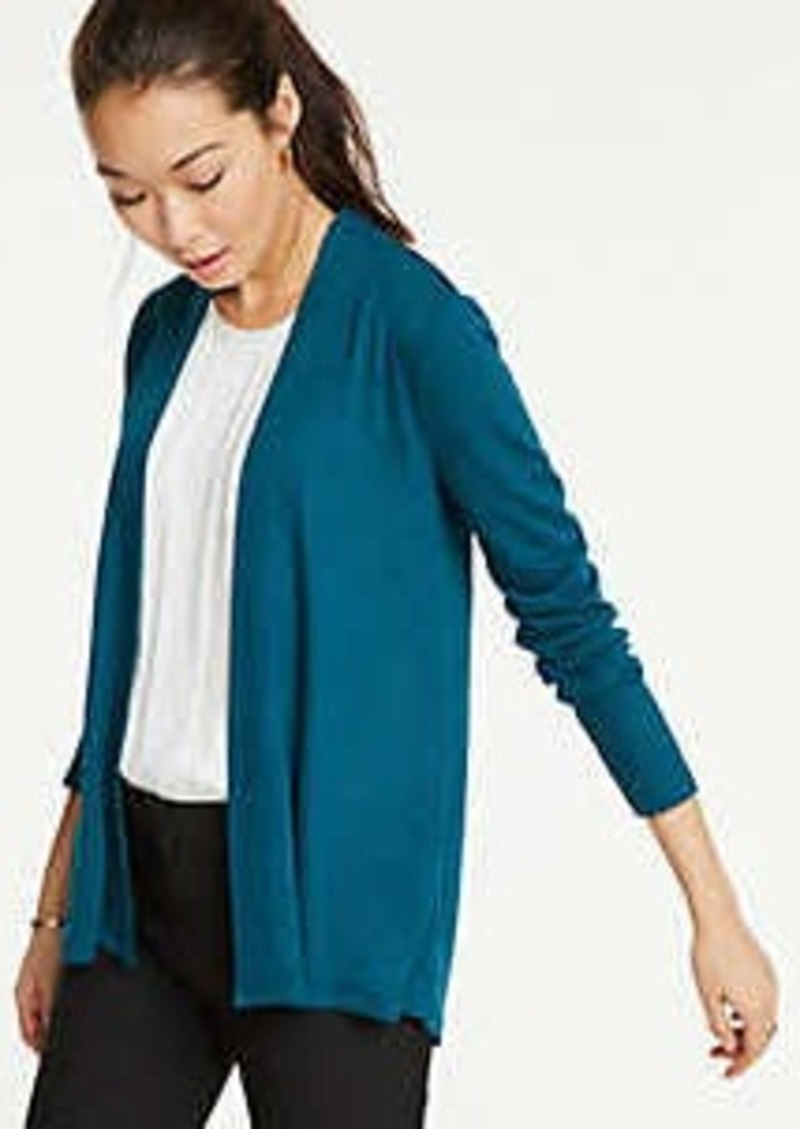 Ann Taylor Elliptical Hem Open Cardigan