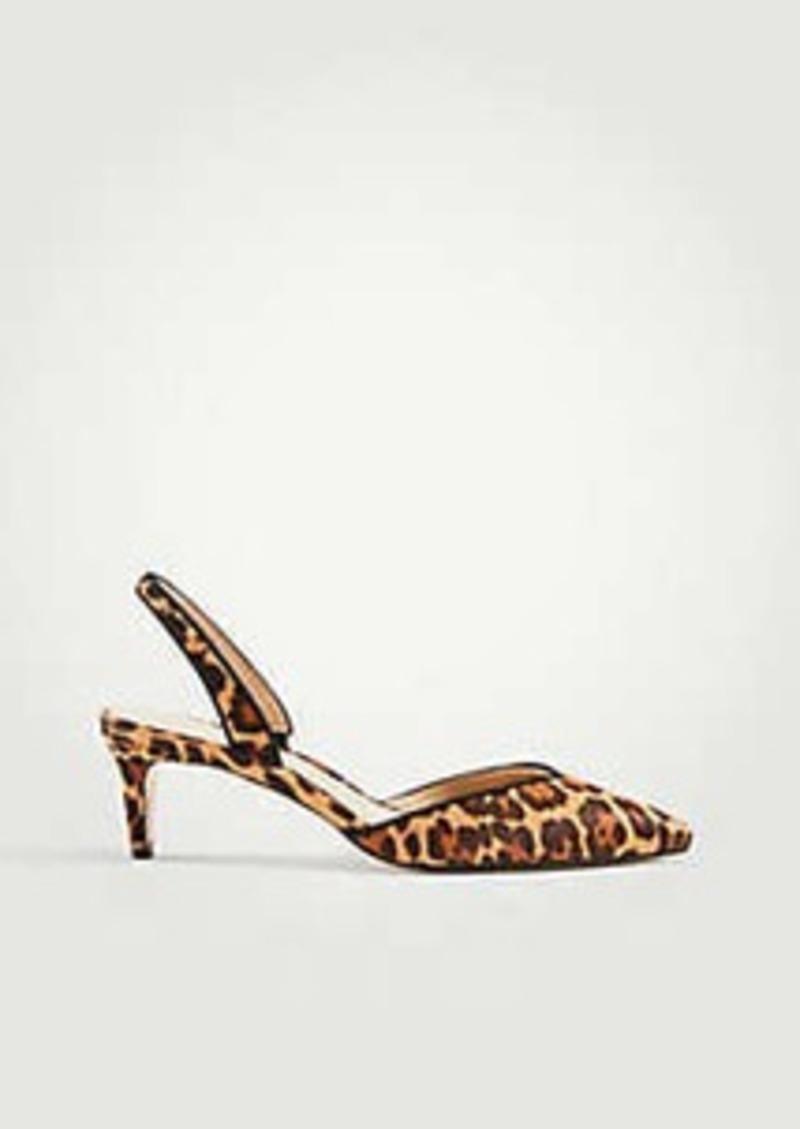 8a66e736b0 On Sale today! Ann Taylor Elora Leopard Print Haircalf Slingback Pumps