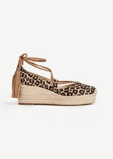 Elsa Leopard Print Haircalf Espadrille Wedges