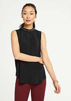 Ann Taylor Embellished Mock Neck Shell