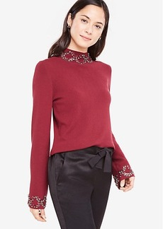 Ann Taylor Embellished Mock Neck Sweater