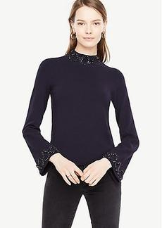 Ann Taylor Embellished Mock Neck Sweater