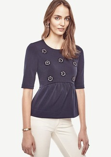 Ann Taylor Embellished Peplum Top