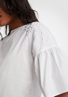 Ann Taylor Embroidered Flare Sleeve Poplin Top