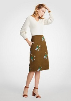 Ann Taylor Embroidered Floral Pocket Skirt