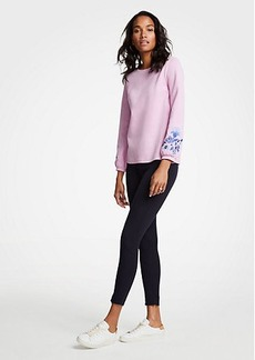Ann Taylor Embroidered Floral Sleeve Sweatshirt