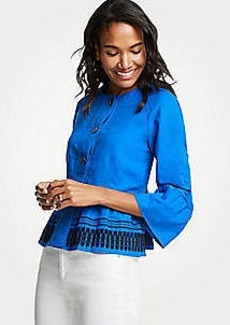 Ann Taylor Embroidered Flounce Jacket