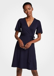Ann Taylor Embroidered Flutter Sleeve Wrap Dress