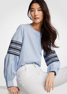 Ann Taylor Embroidered Lantern Sleeve Poplin Top