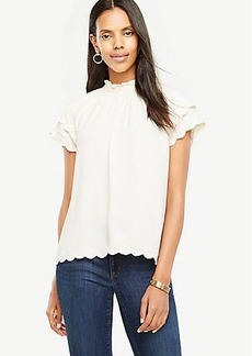 Embroidered Scallop Trim Top