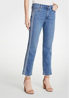 Ann Taylor Embroidered Side Stripe Straight Crop Jeans