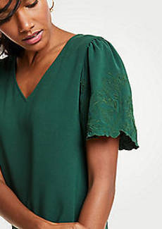Ann Taylor Embroidered Sleeve V-Neck Tee