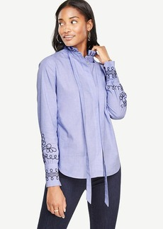 Ann Taylor Embroidered Tie Neck Blouse