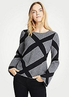 Ann Taylor Enlarged Plaid Bell Sleeve Sweater