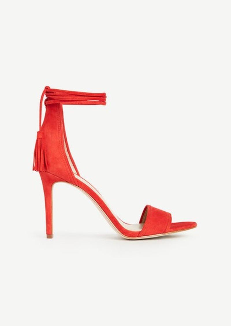 Ann Taylor Esme Tassel Wrap Suede Sandals