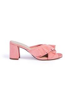 Evena Suede Ruffle Block Heel Sandals