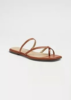 Ann Taylor Everly Braided Leather Cross Strap Flat Slide Sandals