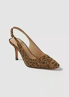 Ann Taylor Evita Leopard Print Suede Slingback Pumps