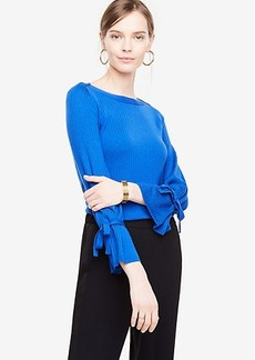 Ann Taylor Extrafine Merino Wool Tie Sleeve Sweater