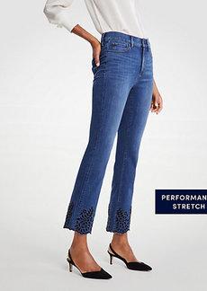 Eyelet Flare Crop Jeans
