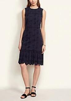 Ann Taylor Eyelet Flounce Sheath Dress