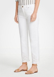 Ann Taylor Eyelet Straight Crop Jeans