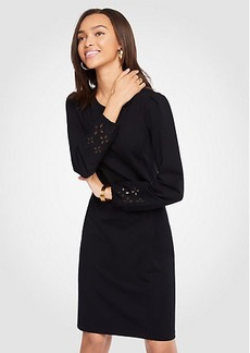 Eyelet Keyhole Ponte Shift Dress