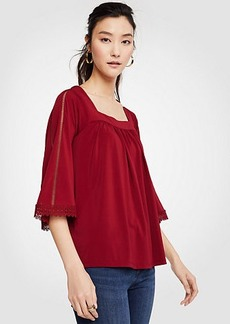 Eyelet Lace Square Neck Top