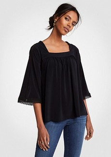 Ann Taylor Eyelet Lace Square Neck Top
