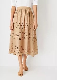 Ann Taylor Eyelet Midi Skirt