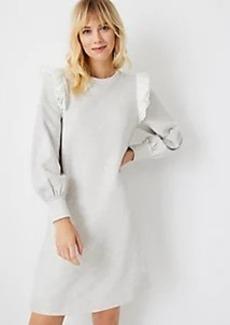 Ann Taylor Eyelet Ruffle Sweatshirt Dress