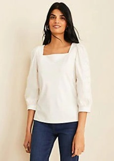 Ann Taylor Eyelet Sleeve Square Neck Top