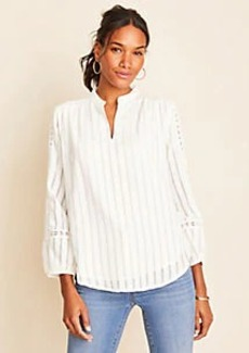 Ann Taylor Eyelet Split Neck Top