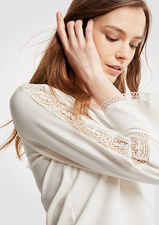 Ann Taylor Eyelet Trim Bell Sleeve Top