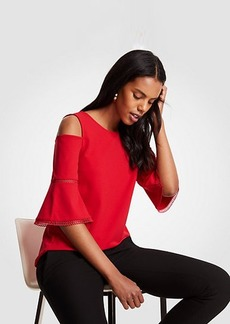 Ann Taylor Eyelet Trim Cold Shoulder Top