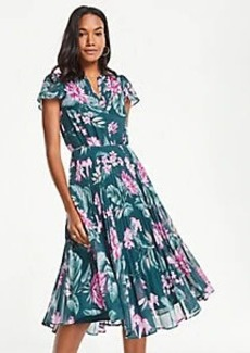 Ann Taylor Fauna Floral Pleated Skirt Dress