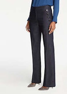 Ann Taylor Faux Denim Sailor Flare Trousers