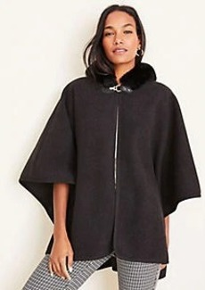 Ann Taylor Faux Fur Hooded Poncho Cape