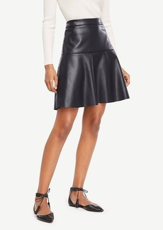 Ann Taylor Faux Leather Flounce Skirt
