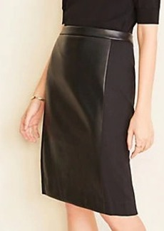 Ann Taylor Faux Leather Paneled Pencil Skirt