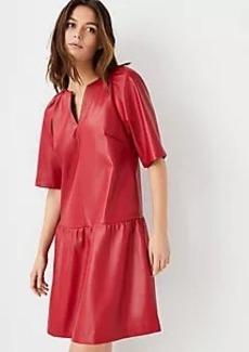 Ann Taylor Faux Leather Peplum Dress